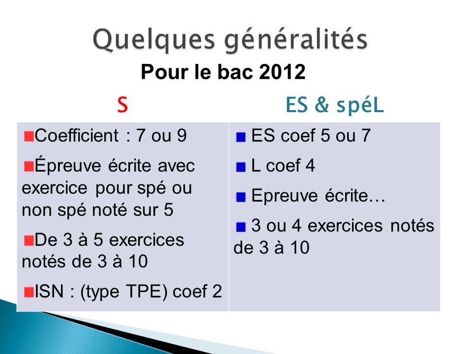 SES & spéL Coefficient : 7 ou 9 Épreuve écrite avec exercice pour spé ou non spé noté sur 5 De 3 à 5 exercices notés de 3 à 10 ISN : (type TPE) coef 2
