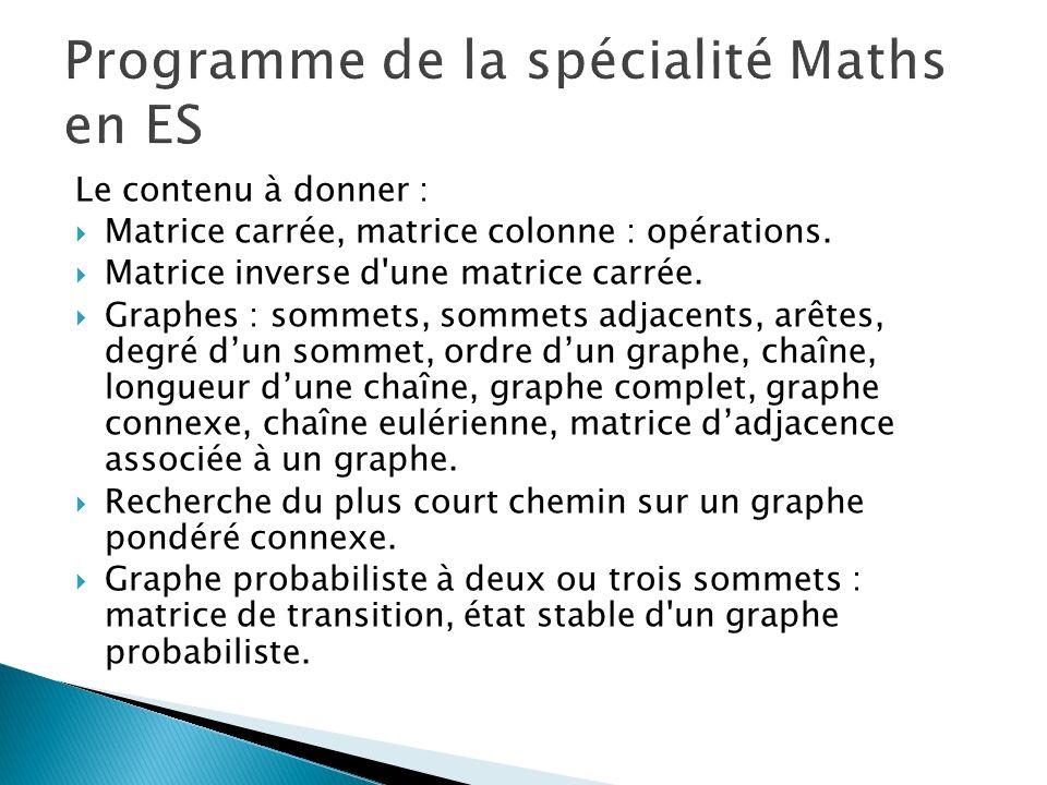 Le contenu à donner : Matrice carrée, matrice colonne : opérations. Matrice inverse d'une matrice carrée. Graphes : sommets, sommets adjacents, arêtes