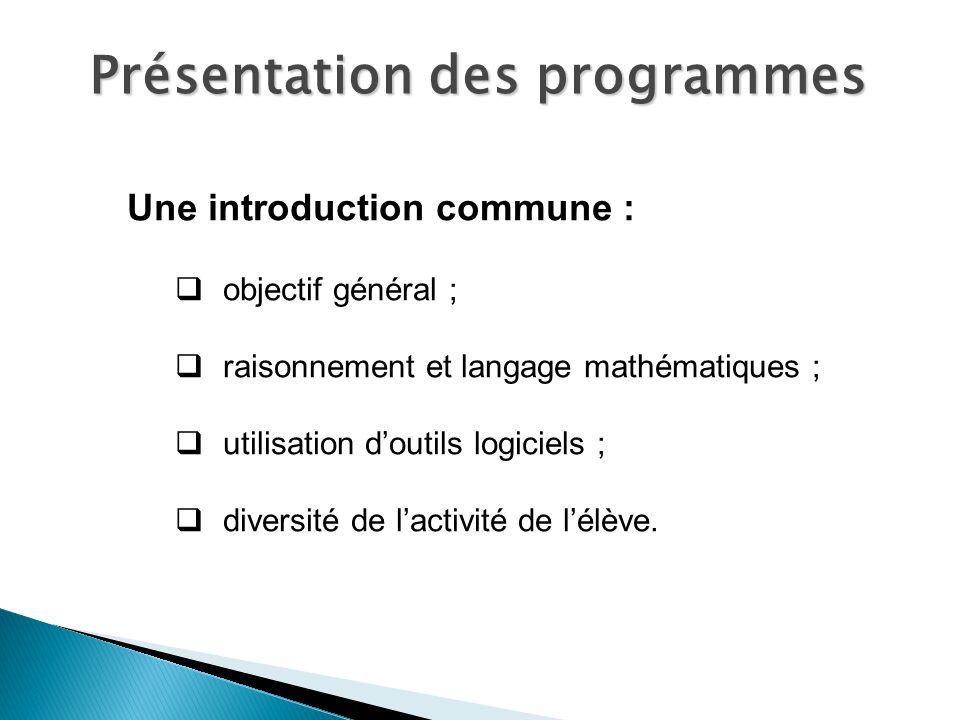 Une introduction commune : objectif général ; raisonnement et langage mathématiques ; utilisation doutils logiciels ; diversité de lactivité de lélève.