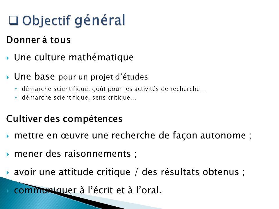 Donner à tous Une culture mathématique Une base pour un projet détudes démarche scientifique, goût pour les activités de recherche… démarche scientifi