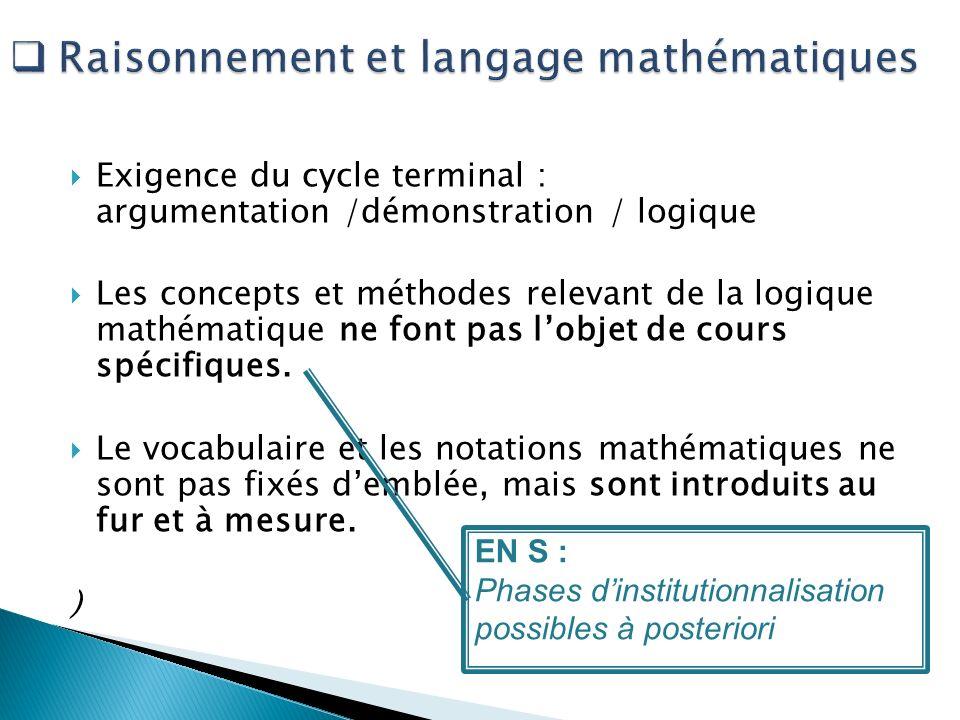 Exigence du cycle terminal : argumentation /démonstration / logique Les concepts et méthodes relevant de la logique mathématique ne font pas lobjet de