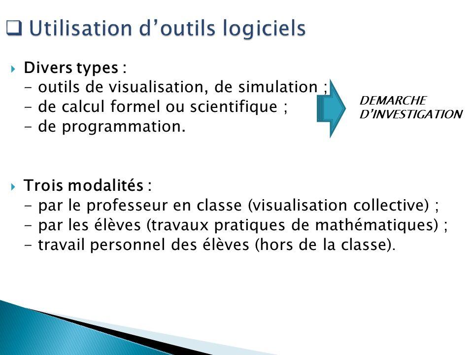 Divers types : - outils de visualisation, de simulation ; - de calcul formel ou scientifique ; - de programmation. Trois modalités : - par le professe