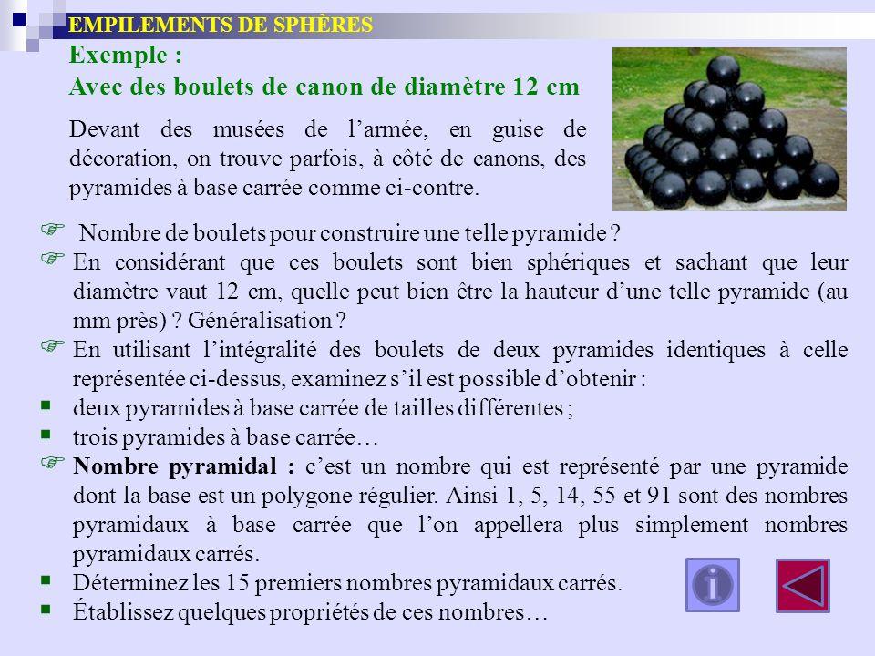EMPILEMENTS DE SPHÈRES Exemple : Avec des boulets de canon de diamètre 12 cm Nombre de boulets pour construire une telle pyramide ? En considérant que