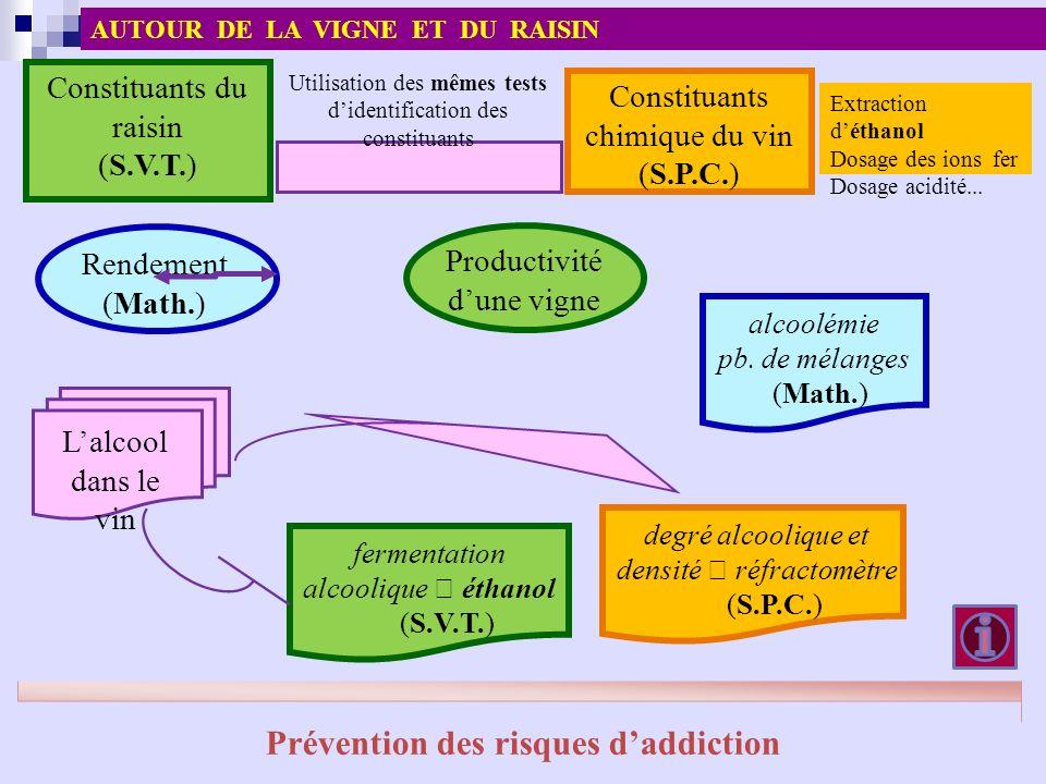 Constituants du raisin (S.V.T.) Constituants chimique du vin (S.P.C.) Utilisation des mêmes tests didentification des constituants Extraction déthanol