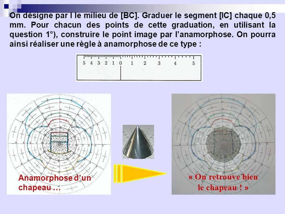 On désigne par I le milieu de [BC]. Graduer le segment [IC] chaque 0,5 mm. Pour chacun des points de cette graduation, en utilisant la question 1°), c
