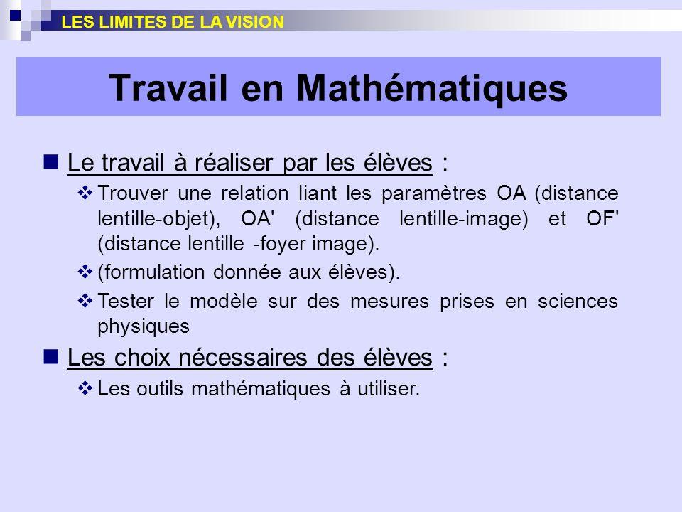 Travail en Mathématiques Le travail à réaliser par les élèves : Trouver une relation liant les paramètres OA (distance lentille-objet), OA' (distance
