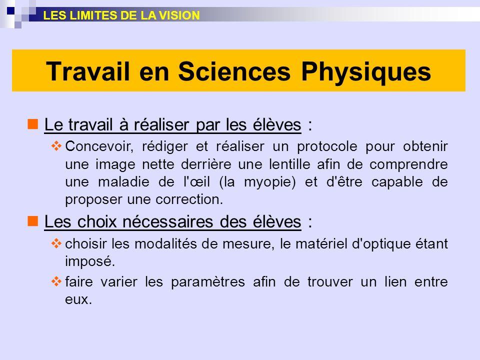Travail en Sciences Physiques Le travail à réaliser par les élèves : Concevoir, rédiger et réaliser un protocole pour obtenir une image nette derrière
