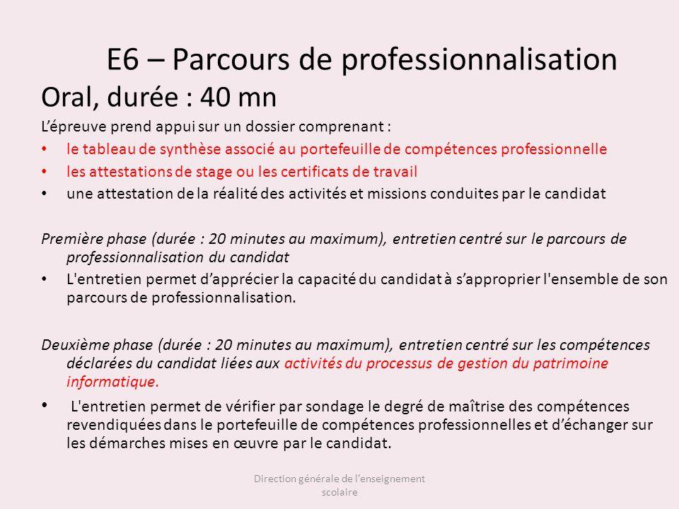 E6 – Parcours de professionnalisation Oral, durée : 40 mn Lépreuve prend appui sur un dossier comprenant : le tableau de synthèse associé au portefeui