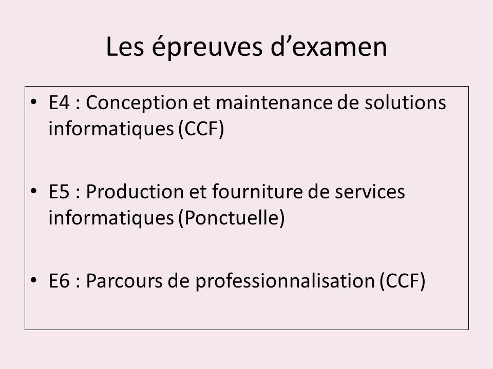 Les épreuves dexamen E4 : Conception et maintenance de solutions informatiques (CCF) E5 : Production et fourniture de services informatiques (Ponctuel