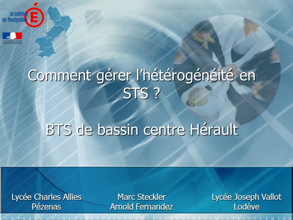Comment gérer lhétérogénéité en STS ? BTS de bassin centre Hérault Lycée Charles Allies Pézenas Lycée Joseph Vallot Lodève Marc Steckler Arnold Fernan