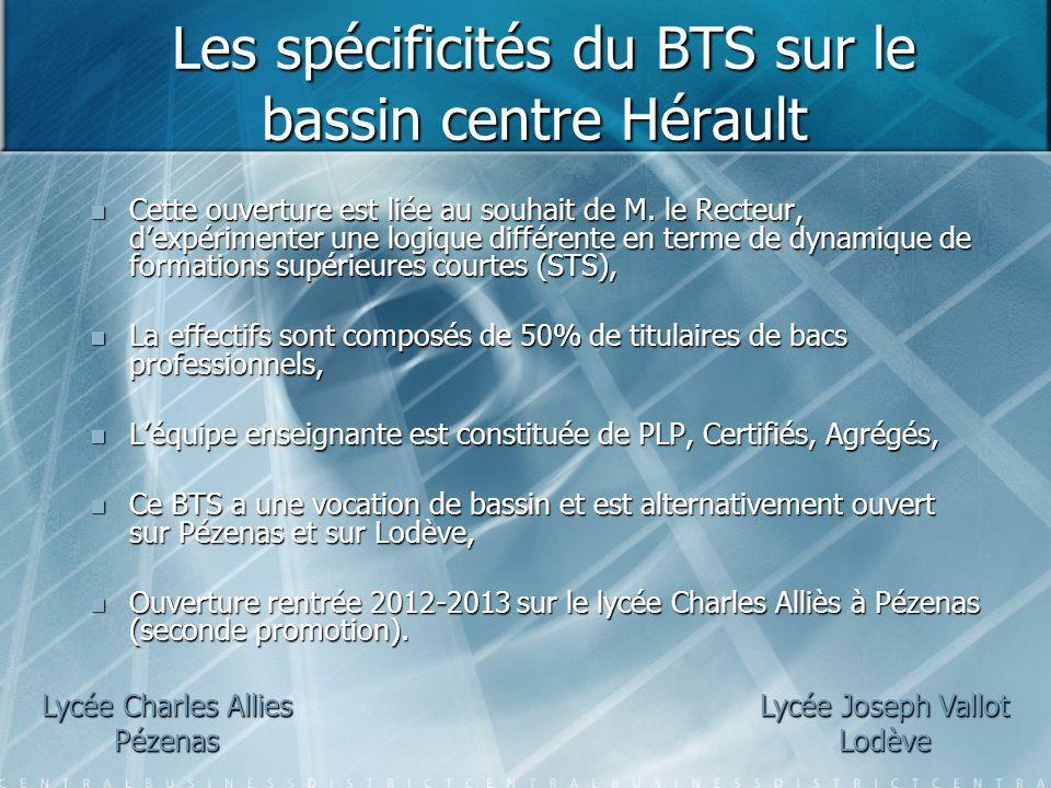 Les spécificités du BTS sur le bassin centre Hérault Les spécificités du BTS sur le bassin centre Hérault Cette ouverture est liée au souhait de M. le