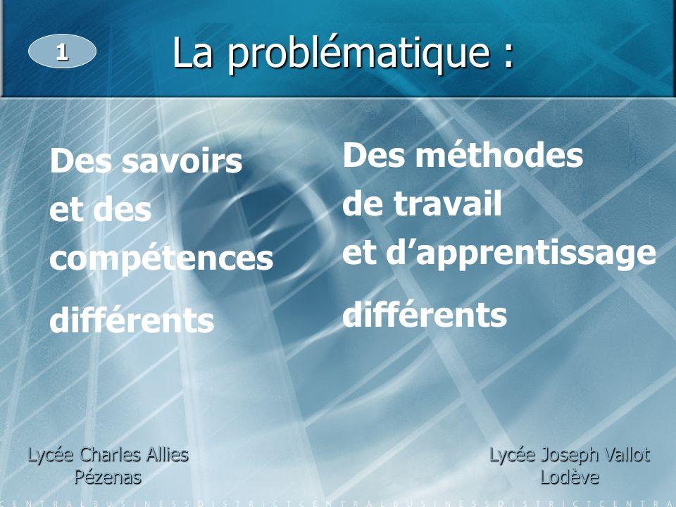 La problématique : Lycée Charles Allies Pézenas 1 Lycée Joseph Vallot Lodève Des savoirs et des compétences différents Des méthodes de travail et dapp