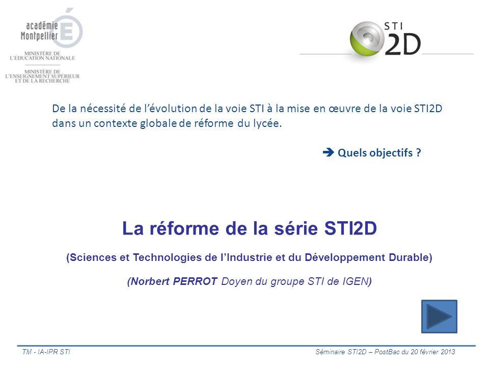 TM - IA-IPR STI Séminaire STI2D – PostBac du 20 février 2013 De la nécessité de lévolution de la voie STI à la mise en œuvre de la voie STI2D dans un