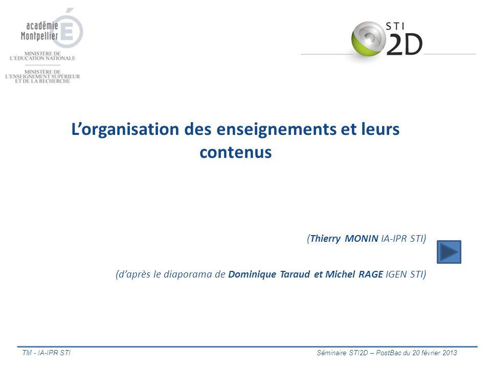 TM - IA-IPR STI Séminaire STI2D – PostBac du 20 février 2013 Lorganisation des enseignements et leurs contenus (Thierry MONIN IA-IPR STI) (daprès le d