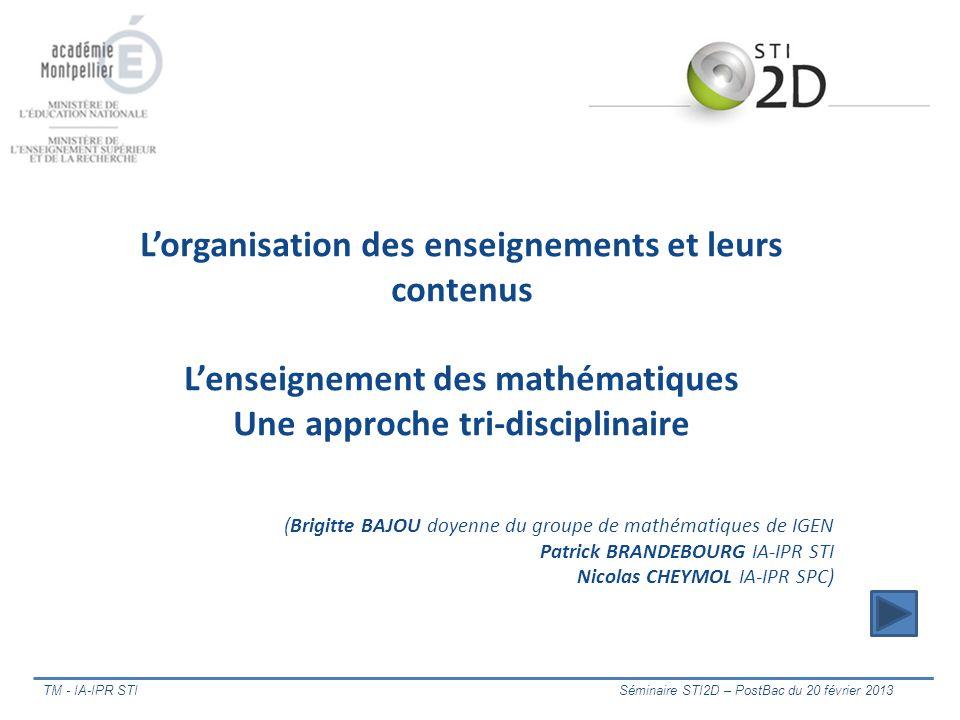 TM - IA-IPR STI Séminaire STI2D – PostBac du 20 février 2013 Lorganisation des enseignements et leurs contenus Lenseignement des mathématiques Une app