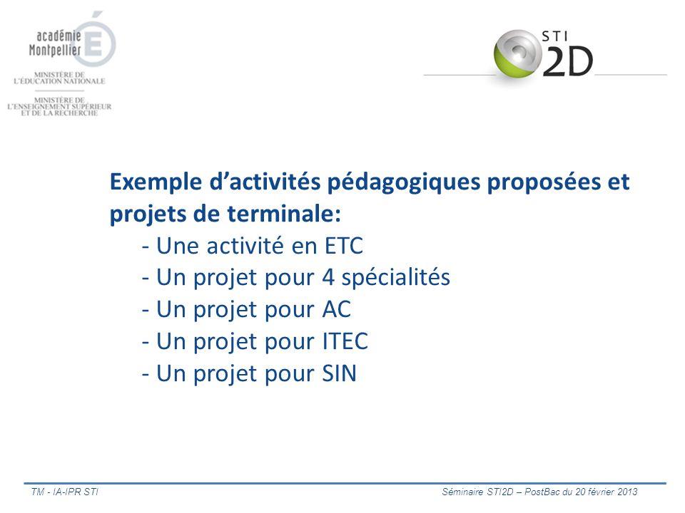 Exemple dactivités pédagogiques proposées et projets de terminale: - Une activité en ETC - Un projet pour 4 spécialités - Un projet pour AC - Un proje