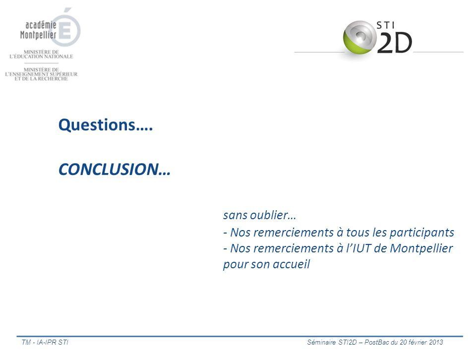 Questions…. CONCLUSION… sans oublier… - Nos remerciements à tous les participants - Nos remerciements à lIUT de Montpellier pour son accueil TM - IA-I