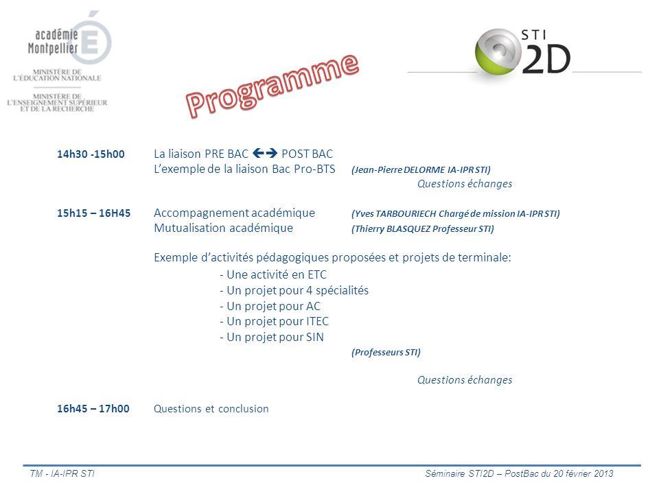 14h30 -15h00 La liaison PRE BAC POST BAC Lexemple de la liaison Bac Pro-BTS (Jean-Pierre DELORME IA-IPR STI) Questions échanges 15h15 – 16H45 Accompag