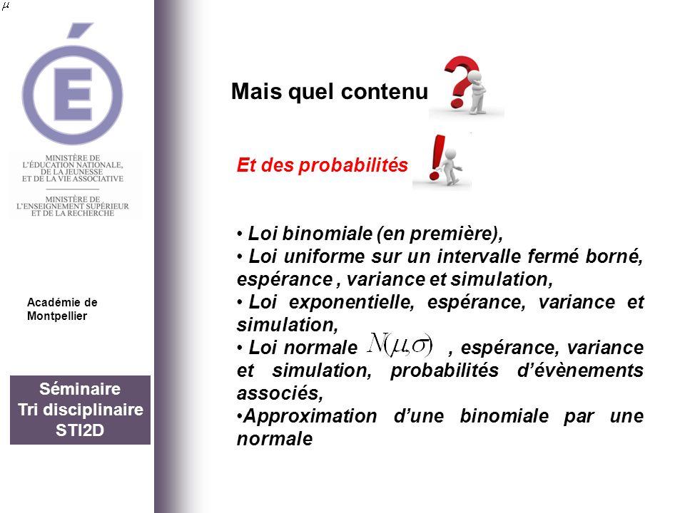 Séminaire Tri disciplinaire STI2D Mais quel contenu Académie de Montpellier Et des probabilités Loi binomiale (en première), Loi uniforme sur un inter