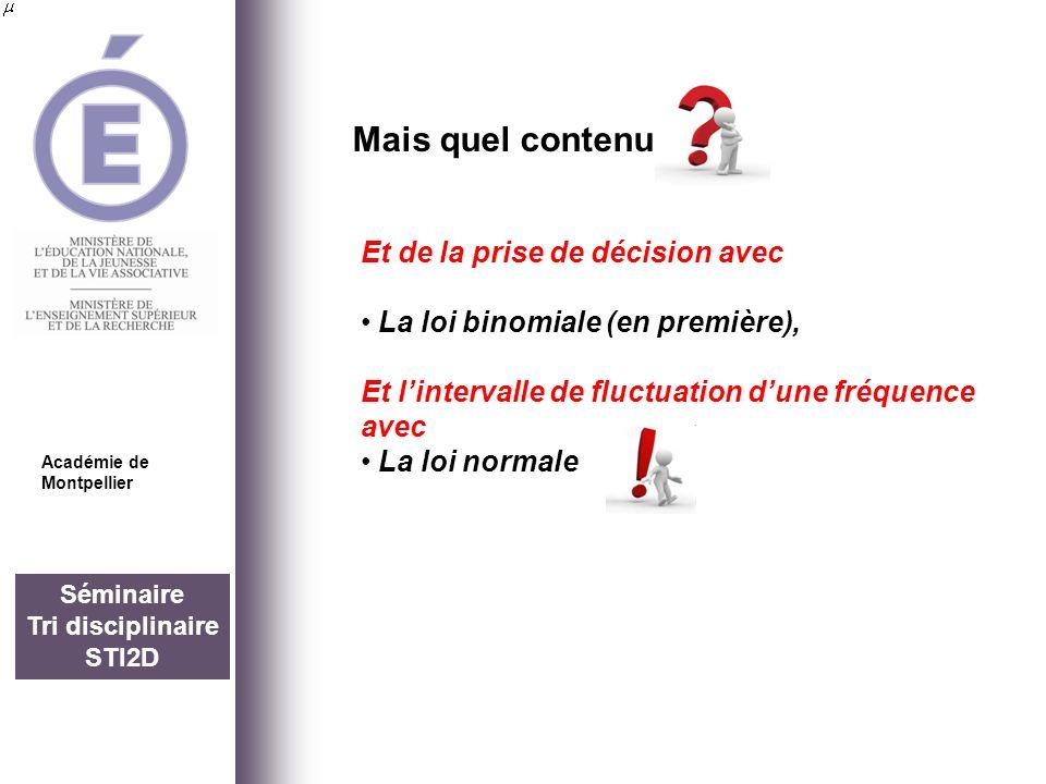 Séminaire Tri disciplinaire STI2D Mais quel contenu Académie de Montpellier Et de la prise de décision avec La loi binomiale (en première), Et linterv