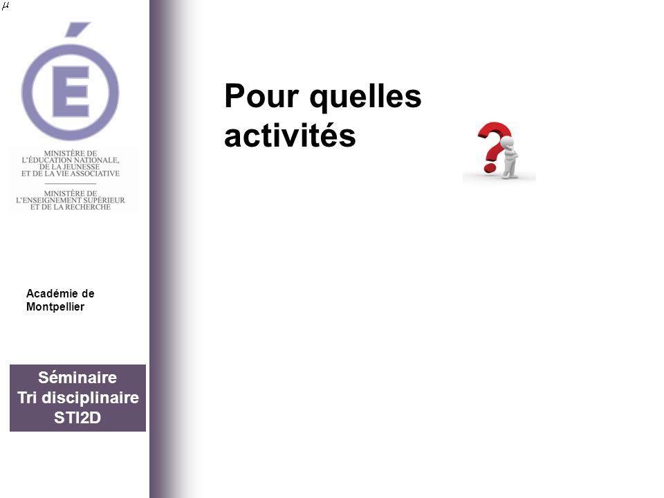 Séminaire Tri disciplinaire STI2D Pour quelles activités Académie de Montpellier