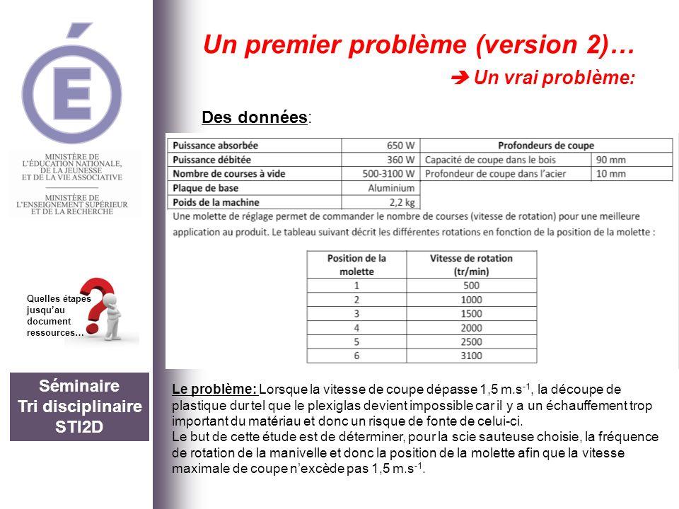 Séminaire Tri disciplinaire STI2D Quelles étapes jusquau document ressources… Un premier problème (version 2)… Un vrai problème: Des données: Le probl