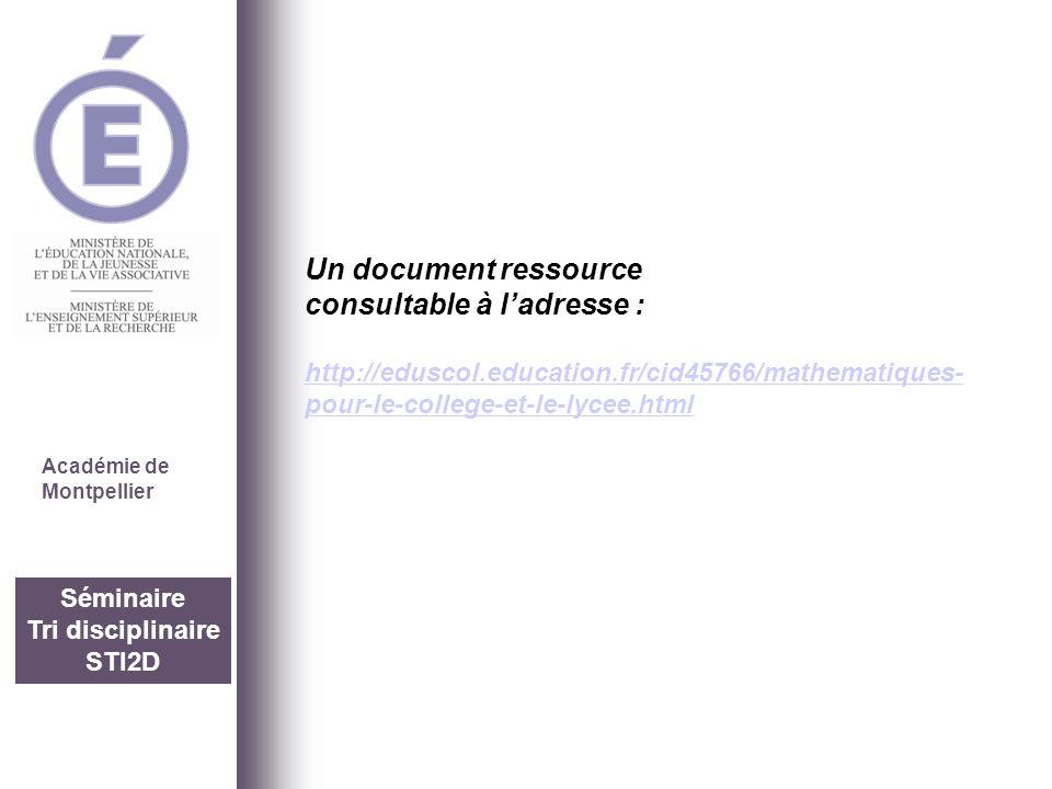 Séminaire Tri disciplinaire STI2D Académie de Montpellier Un document ressource consultable à ladresse : http://eduscol.education.fr/cid45766/mathemat