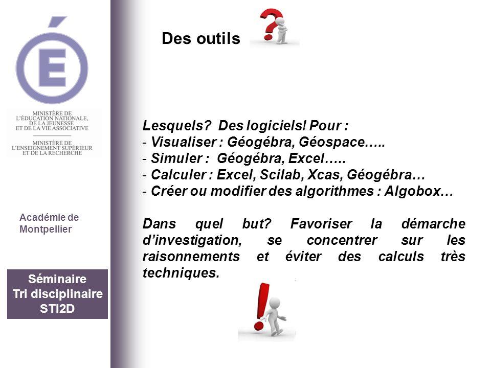Séminaire Tri disciplinaire STI2D Académie de Montpellier Lesquels? Des logiciels! Pour : - Visualiser : Géogébra, Géospace….. - Simuler : Géogébra, E
