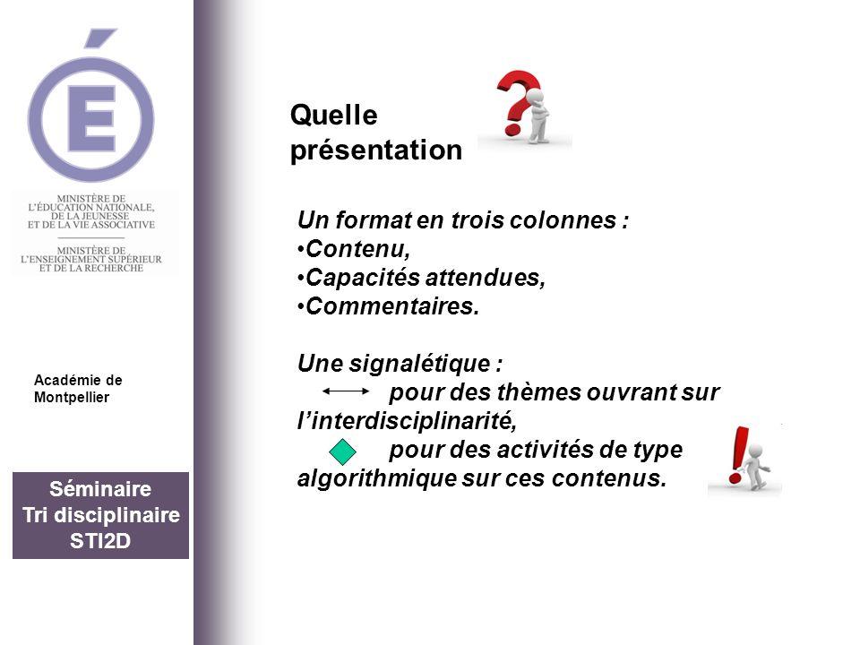 Séminaire Tri disciplinaire STI2D Quelle présentation Académie de Montpellier Un format en trois colonnes : Contenu, Capacités attendues, Commentaires