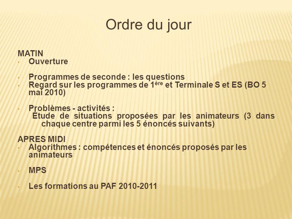Ordre du jour MATIN Ouverture Programmes de seconde : les questions Regard sur les programmes de 1 ère et Terminale S et ES (BO 5 mai 2010) Problèmes