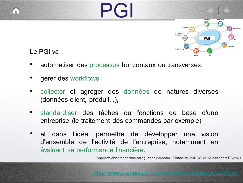 PGI Le PGI va : automatiser des processus horizontaux ou transverses, gérer des workflows, collecter et agréger des données de natures diverses (donné