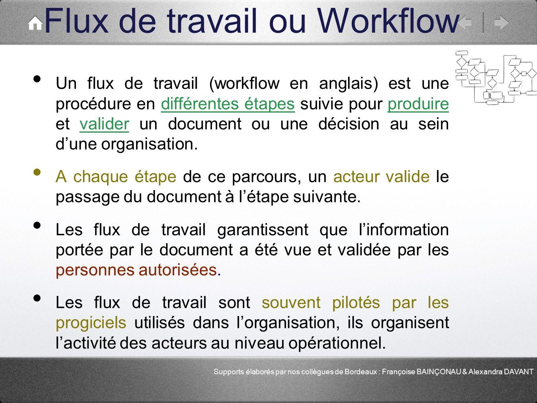 Flux de travail ou Workflow Un flux de travail (workflow en anglais) est une procédure en différentes étapes suivie pour produire et valider un docume