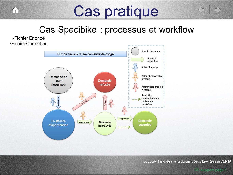 Cas pratique CF support page 7 Supports élaborés à partir du cas Specibike – Réseau CERTA Cas Specibike : processus et workflow Fichier Enoncé Fichier