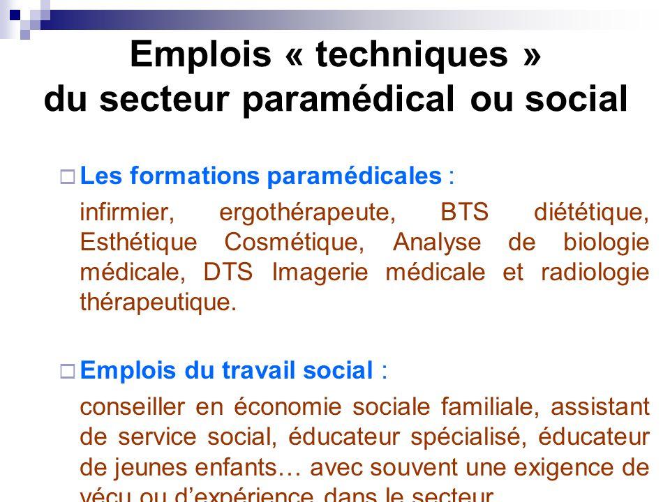 Emplois « techniques » du secteur paramédical ou social Les formations paramédicales : infirmier, ergothérapeute, BTS diététique, Esthétique Cosmétiqu
