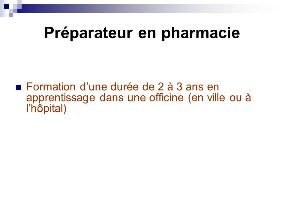 Préparateur en pharmacie Formation dune durée de 2 à 3 ans en apprentissage dans une officine (en ville ou à lhôpital)