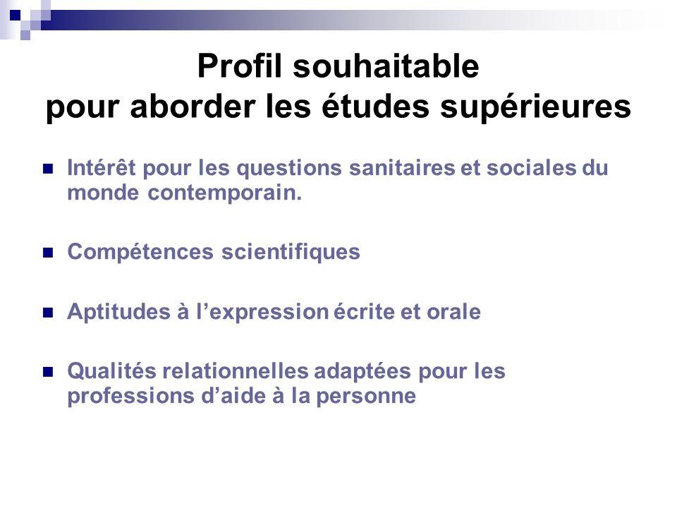 Profil souhaitable pour aborder les études supérieures Intérêt pour les questions sanitaires et sociales du monde contemporain. Compétences scientifiq