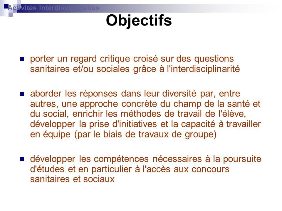Objectifs porter un regard critique croisé sur des questions sanitaires et/ou sociales grâce à l'interdisciplinarité aborder les réponses dans leur di