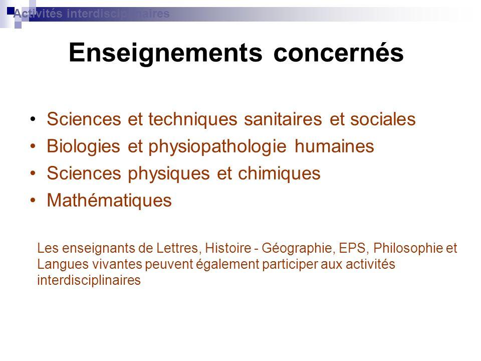 Enseignements concernés Sciences et techniques sanitaires et sociales Biologies et physiopathologie humaines Sciences physiques et chimiques Mathémati