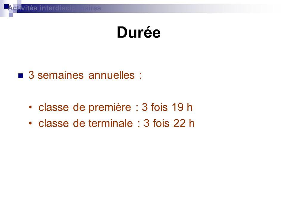 Durée 3 semaines annuelles : classe de première : 3 fois 19 h classe de terminale : 3 fois 22 h Activités interdisciplinaires