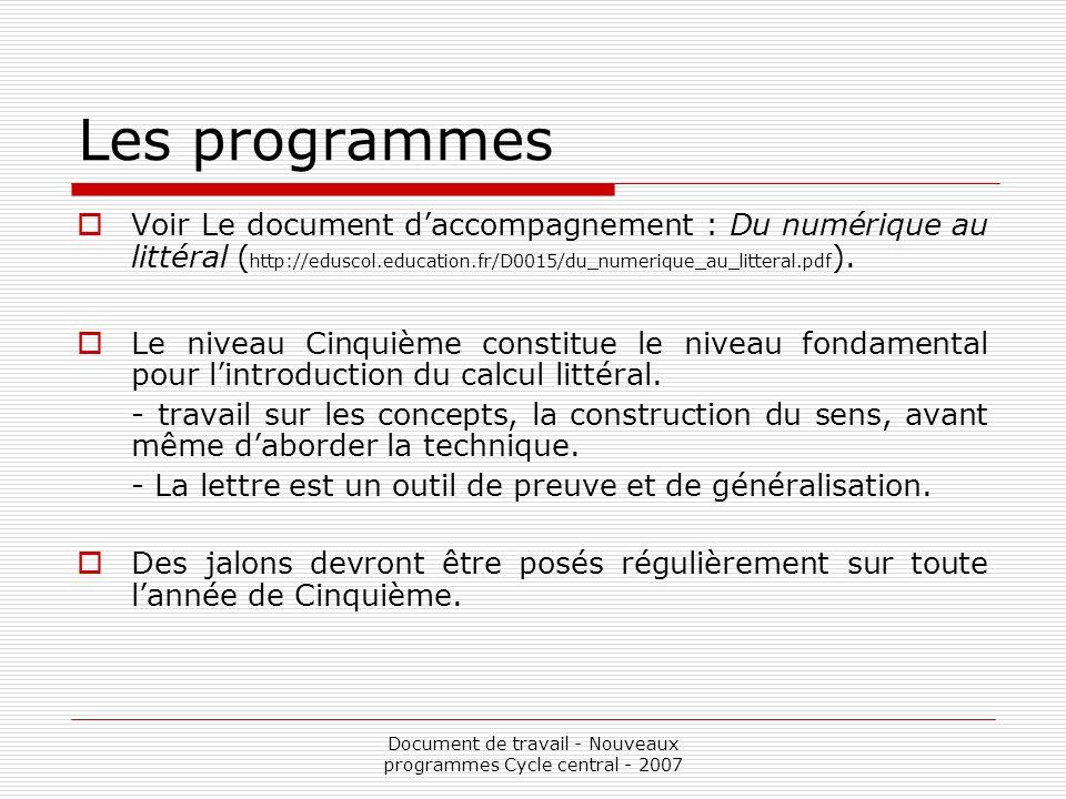 Document de travail - Nouveaux programmes Cycle central - 2007 Les programmes Voir Le document daccompagnement : Du numérique au littéral ( http://edu