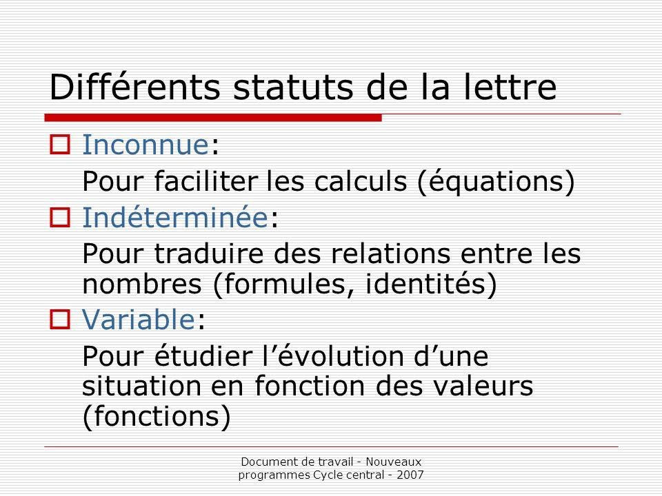 Document de travail - Nouveaux programmes Cycle central - 2007 Différents statuts de la lettre Inconnue: Pour faciliter les calculs (équations) Indéte