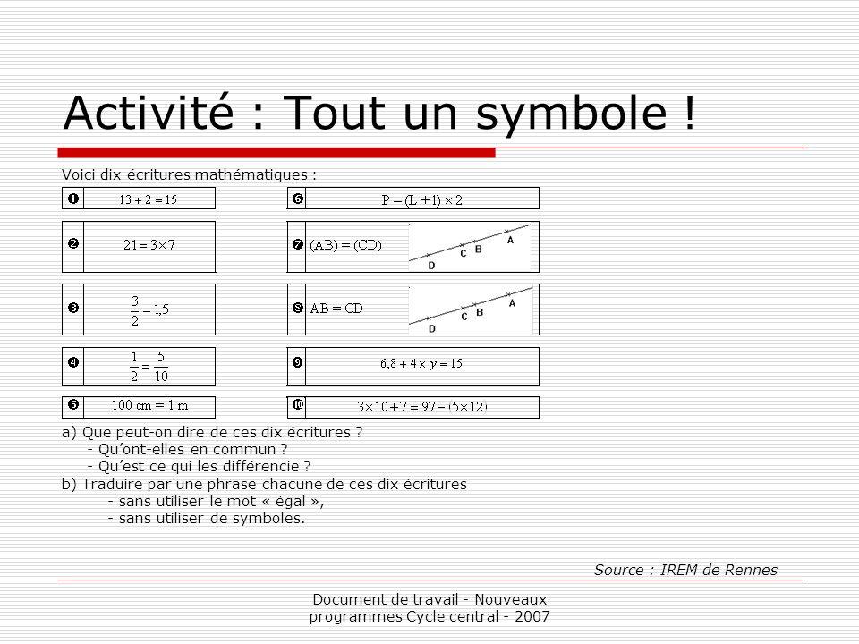 Document de travail - Nouveaux programmes Cycle central - 2007 Activité : Tout un symbole ! Voici dix écritures mathématiques : a) Que peut-on dire de