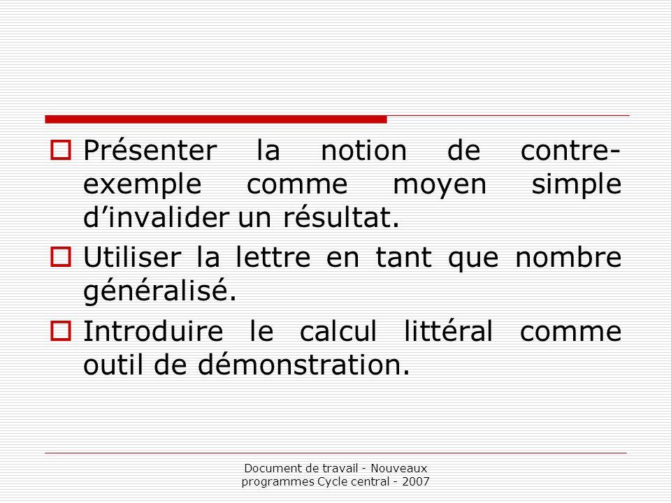 Document de travail - Nouveaux programmes Cycle central - 2007 Présenter la notion de contre- exemple comme moyen simple dinvalider un résultat. Utili