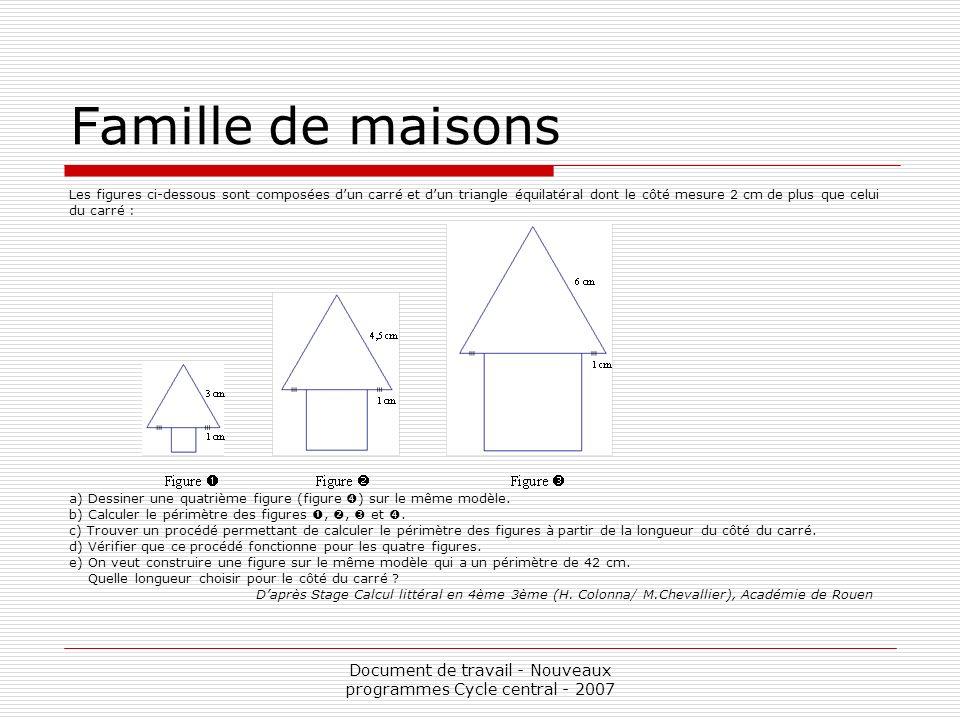 Document de travail - Nouveaux programmes Cycle central - 2007 Famille de maisons Les figures ci-dessous sont composées dun carré et dun triangle équi