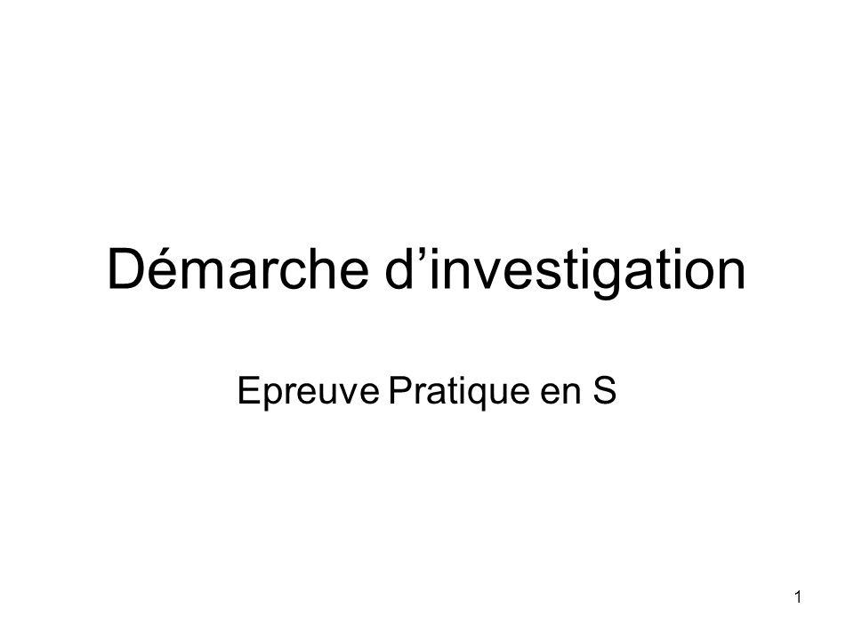 1 Démarche dinvestigation Epreuve Pratique en S