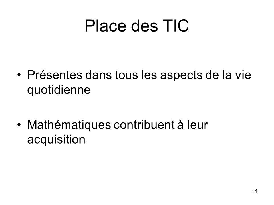14 Place des TIC Présentes dans tous les aspects de la vie quotidienne Mathématiques contribuent à leur acquisition