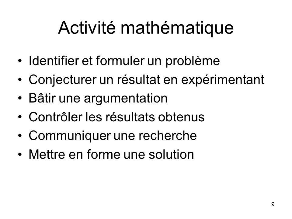 9 Activité mathématique Identifier et formuler un problème Conjecturer un résultat en expérimentant Bâtir une argumentation Contrôler les résultats obtenus Communiquer une recherche Mettre en forme une solution