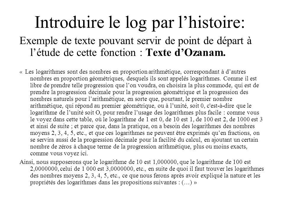 Introduire le log par lhistoire: Exemple de texte pouvant servir de point de départ à létude de cette fonction : Texte dOzanam. « Les logarithmes sont