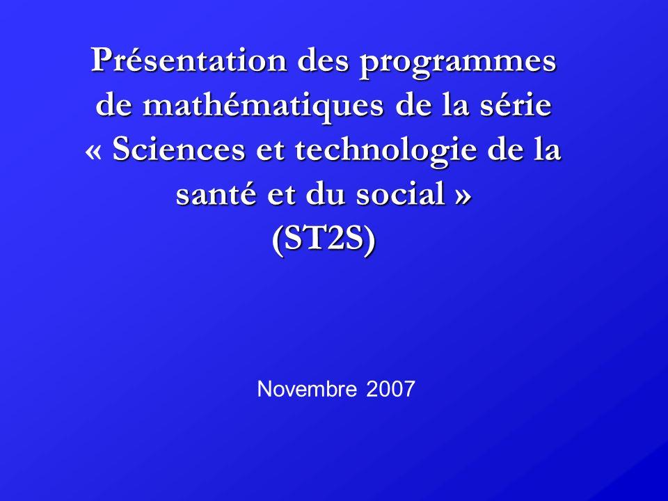 ST2S : Probabilités Classe de terminale Utiliser le plus souvent issues des situations issues des sciences et technologies de la santé et du social Conditionnement par un événement de probabilité non nulle (notation P B (A)).