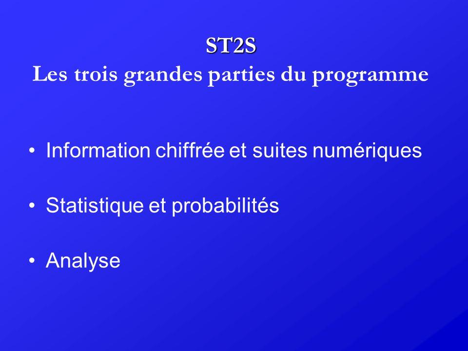 ST2S ST2S Les trois grandes parties du programme Information chiffrée et suites numériques Statistique et probabilités Analyse